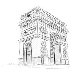 Vector World famous landmark collection : Arc de Triomphe , Pari