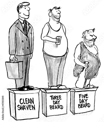 The three stages of beard growth on pedestal