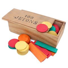 Boîte de jetons en bois