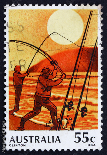 Postage stamp Australia 1979 Surf Fishing