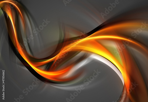 Brilliant orange waves on grey background