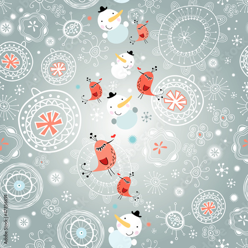 winter texture with snowflakes and snowmen