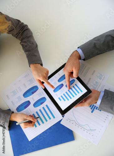 Business plan presentation on digital tablet