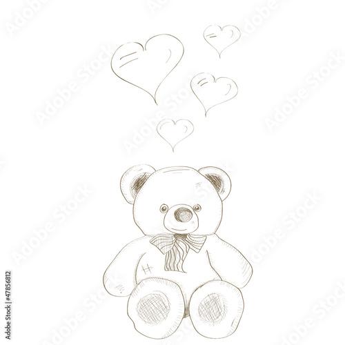 vector hand drawn bear with heart