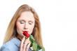 Frau mit Rose