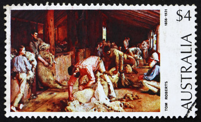 Postage stamp Australia 1974 Shearing the Rams