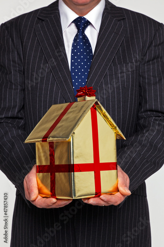 Businessman presenting a new home