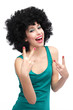 Woman with black afro wig laughing