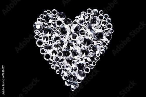 Diamond heart on black background