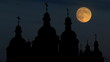 Ukraine Saint Sophia Cathedral Kiev east moonrise