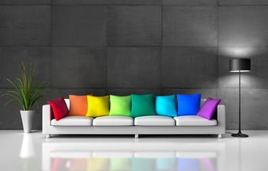 XXL-Sofa mit bunten Kissen