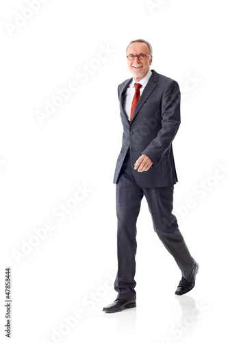 Walking mature business man