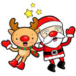 Santa Claus and deer mascot the event activity. Christmas Charac