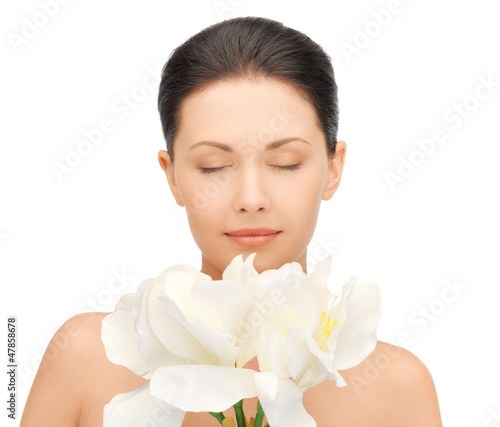 lovely woman with orchid flower