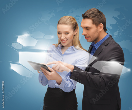 man and woman with virtual screens