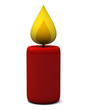 Red candle icon, 3d