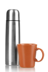 metal thermos with cup isolated on white