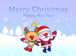 Decorated Christmas card of Santa Claus and deer. Christmas Card