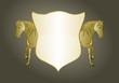 Reiterabzeichen mit Wappen in Gold