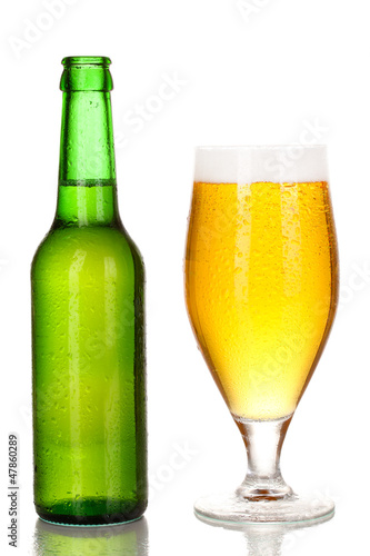 Bottle and glass of beer isolated on white