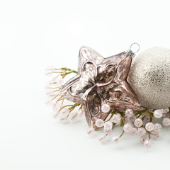 Christmas decoration on the white background.