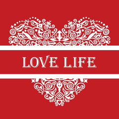 Love life white detailed heart ornament on red