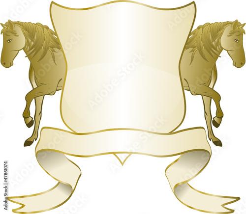 Reitabzeichen in Gold mit Spruchband