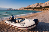 Motor boat in beach at Baska - Krk - Croatia