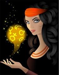 Гадалка с магическим золотым шаром