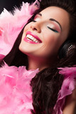 Cheerful Beauty Girl with Pink Feathers Having Fun - Pleasure poster