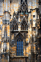 details of gothic decorations on Stephansdom walls in Vienna