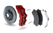 Leinwanddruck Bild - Disassembled Brake Disc with Red Calliper from a Racing Car