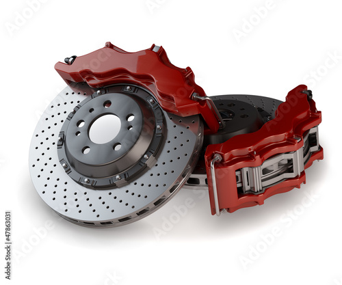 Brake Discs with Red Callipers from a Racing Car isolated on whi