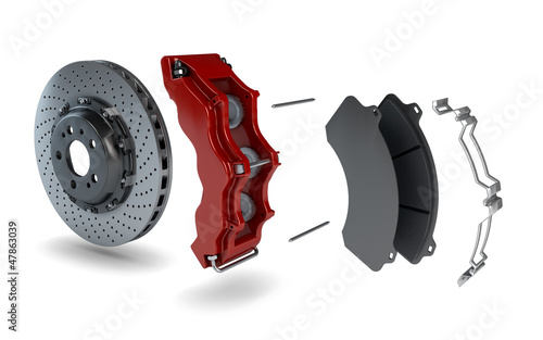 Disassembled Brake Disc with Red Calliper from a Racing Car - 47863039