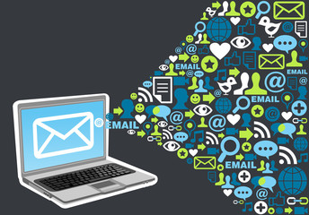 Email marketing icon splash concept