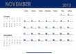 Monthly calendar for 2013 year - November. Start on Sunday.