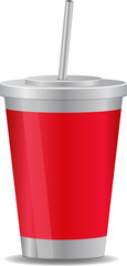Paper Plastic Cup Vector Illustration Icons