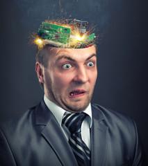 Short circuit in businessman head