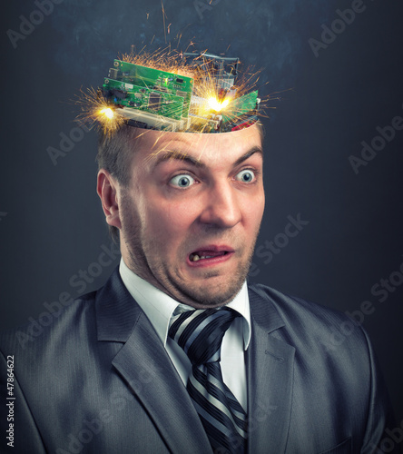 Short circuit in businessman head
