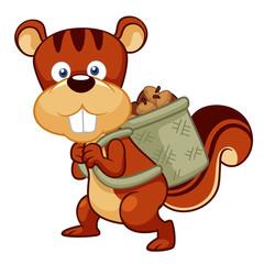 illustration of Cartoon squirrel hoard nuts