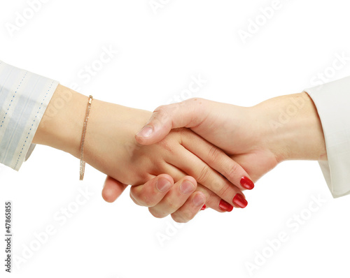 Businesspeople shaking hands isolated on white