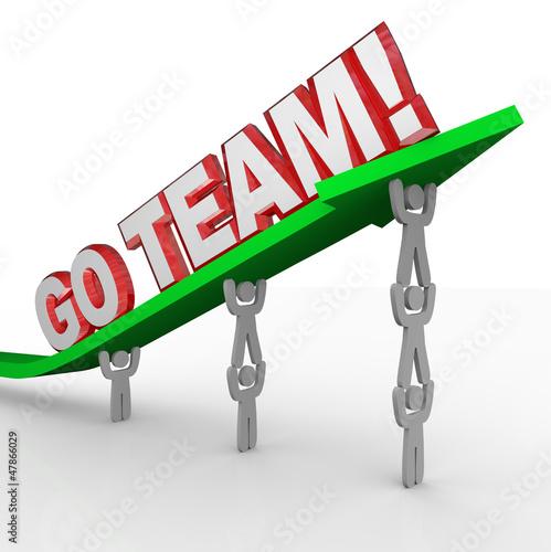 Go Team Cheerleading People Lift Words