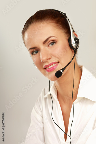 Young beautiful woman with headset