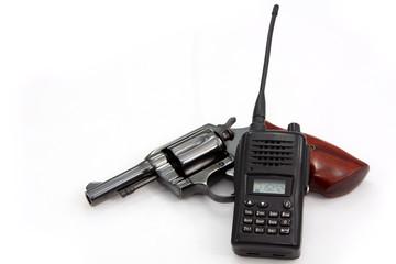 Handgun revolver and Police Radio communication