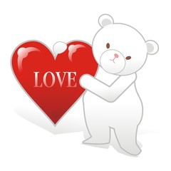 Polar bear with love with heart