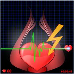 Herz EKG mit Blitz