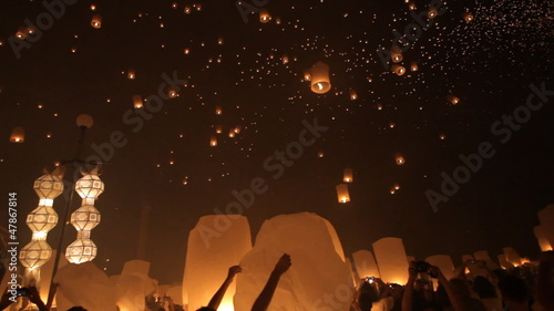 floating lanterns launching in Thailand.