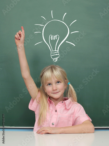 Girl at the Blackboard with idea
