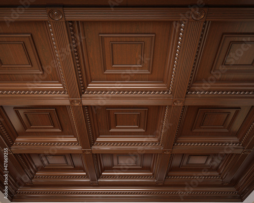 Classical wooden coffered ceiling