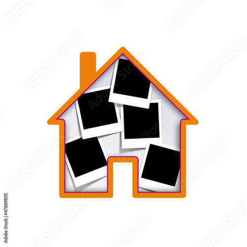 Vector polaroid house collection